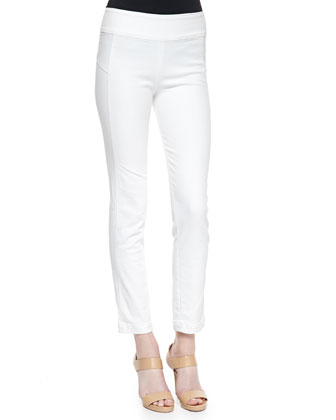 Flat-Front Crop Skinny Pants, White