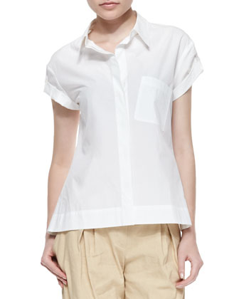 Short Tab-Sleeve Pleated Blouse, White