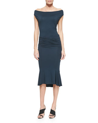 Draped Flute-Skirt Jersey Dress