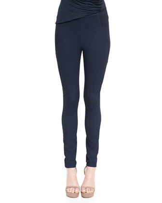 Bicolor Pull-On Ankle Pants, Deep Indigo