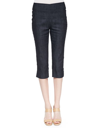 Denim Peg Capri Pants, Indigo