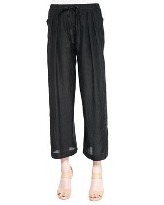 Convertible Wide-Leg Pull-On Pants, Black