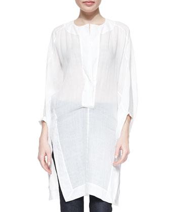 Three-Quarter Full-Sleeve Tunic, White