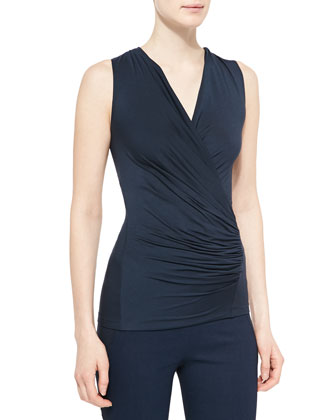 Sleeveless Ruched Jersey Top, Deep Indigo