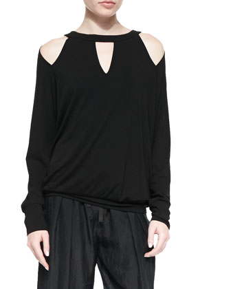 Cold-Shoulder Jersey Cutout Top, Black