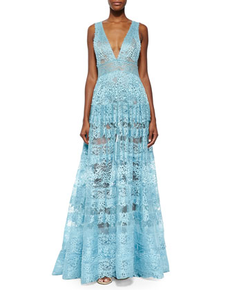 Sheer Backless Lace Gown, Sea Mist