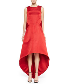 Satin High-Low V-Back Dress, Cardinal