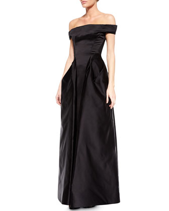 Off-The-Shoulder Satin Gown