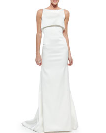 Sateen Double-Layer Gown, Optic White