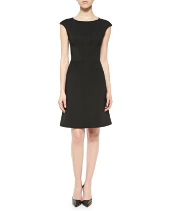Cap-Sleeve Bonded Crepe Dress