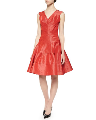 Taffeta Seamed Flounce Dress, Aurora Red