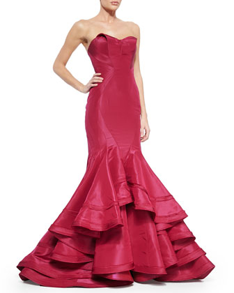 Strapless Taffeta Mermaid Gown, Sangria