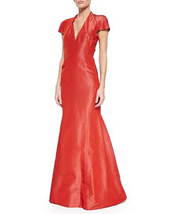 Cap-Sleeve Silk Trumpet Gown, Aurora Red