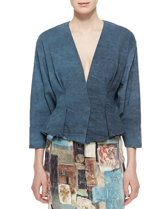 Tuck-Pleated Peplum Jacket, Faded Indigo