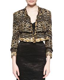 Cropped Metallic Ribbon Tweed Jacket