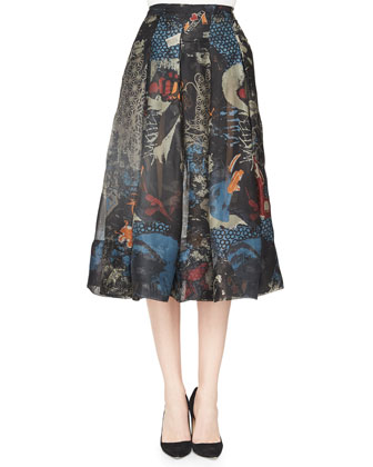 Street Art-Print Pleated Cotton Skirt, Black Multi