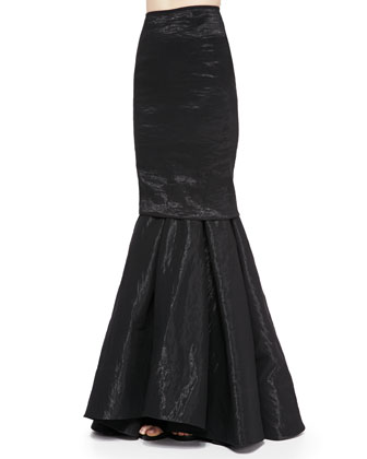 Stretch-Organza Trumpet Skirt, Black