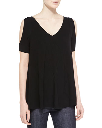 Cold-Shoulder Jersey Tunic Top, Black