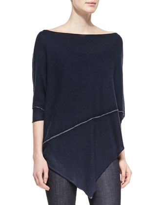 Cashmere Half-Sleeve Asymmetric Poncho, Deep Indigo