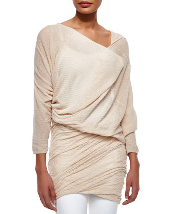 Off-The-Shoulder Asymmetric Ruched Tunic