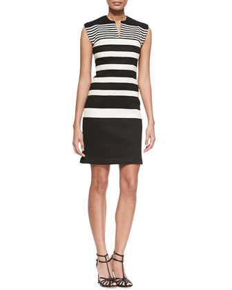 Gradient-Stripe Knit Sheath Dress