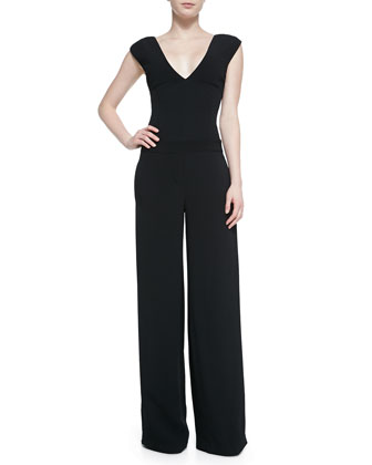 V-Neck Wide-Leg Jumpsuit, Black