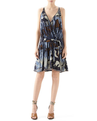 Embroidered Fantasy Print Silk Georgette Gown