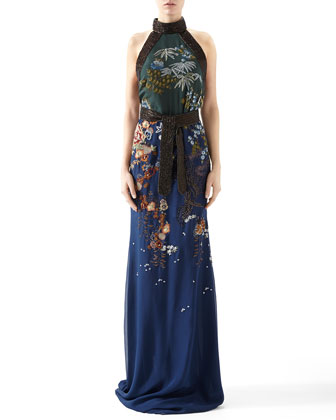 Embroidered Silk Chiffon Sleeveless Gown