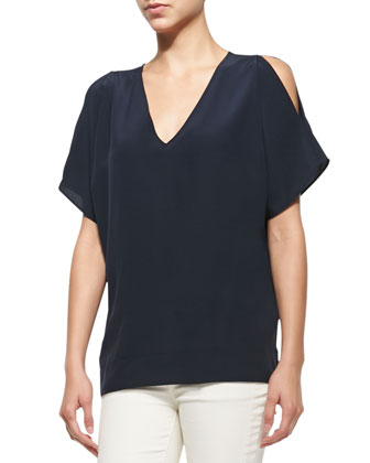 Cold-Shoulder Cocoon Tunic, Blue