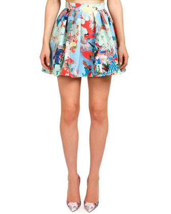 Abalone Sky Hillie Printed Pleated Skirt
