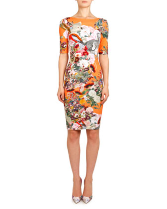 Lobelia Peach Plie Boat-Neck Jersey Dress, Orange/Multi