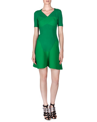Redworth Pique-Inset Flounce Dress, Kelly Green