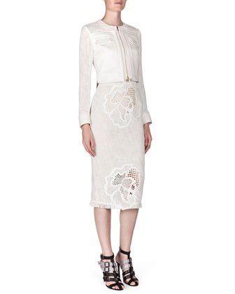 Letton Laser-Cut Flower Jacket, White