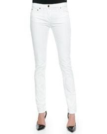 Skinny Denim Ankle Jeans, White