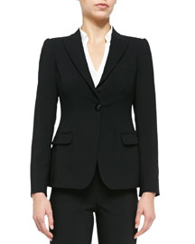 Featherweight Wool One-Button Jacket