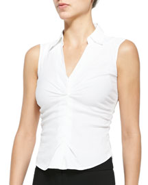 Stretch-Poplin Shirtwaist Blouse