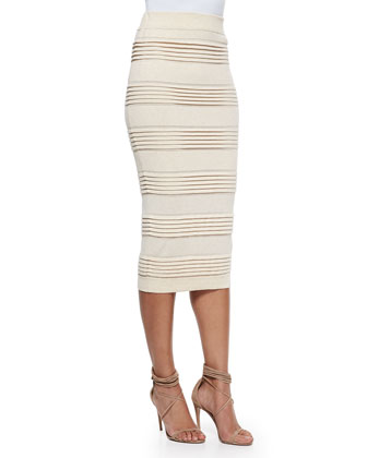 Fold-Tiered Midi Pencil Skirt, Parchment