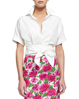Short-Sleeve Wrap-Front Blouse, Optic White