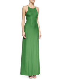 Open-Back Satin Gown, Lawn
