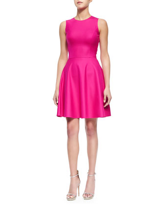 Stretch-Crepe Fit-and-Flare Dress, Geranium