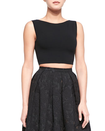 Sleeveless Knit Crop Top, Black