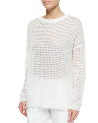 Long-Sleeve Loose-Knit Mohair-Blend Sweater, White