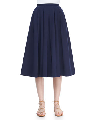 Pleated Full Stretch Cotton Skirt