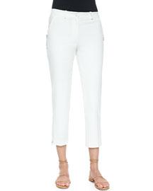 Zip-Detailed Skinny Ankle Pants, Optic White