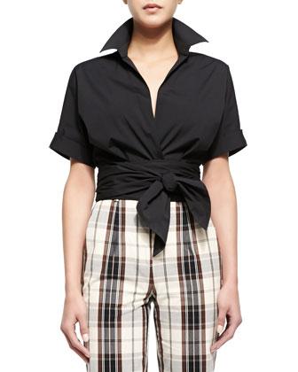 Short-Sleeve Wrap-Front Blouse, Black