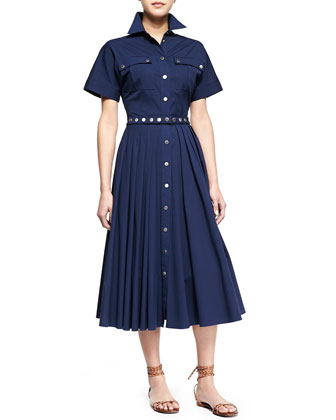 Utility Snap-Front Shirtdress, Indigo