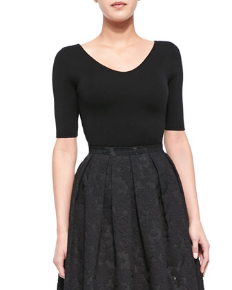 Cashmere 3/4-Sleeve Top, Black