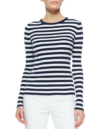 Striped Ribbed Long-Sleeve Tee, Indigo/White