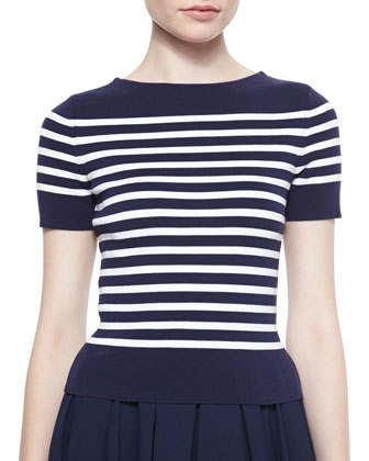 Short-Sleeve Striped Knit Tee