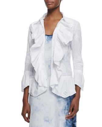 Jacqueline Paisley-Embroidered Ruffle Shirt, White